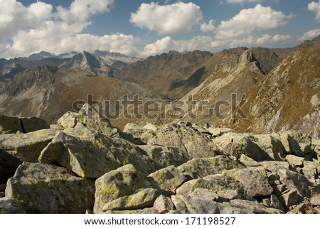 peaks in Val d'Aran national park, Spain - stock photo