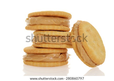 peanut butter and crackers - stock photo