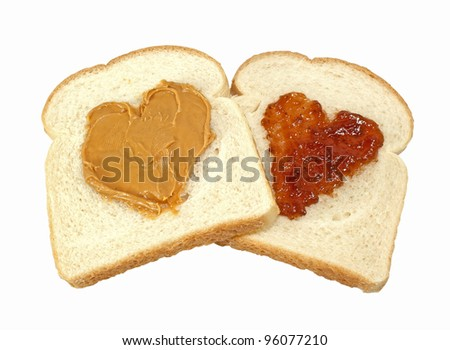 Peanut Butter And Jelly Love-Two slices of bread with hearts of peanut ...