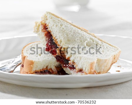 Peanut butter and jelly sandwich - stock photo