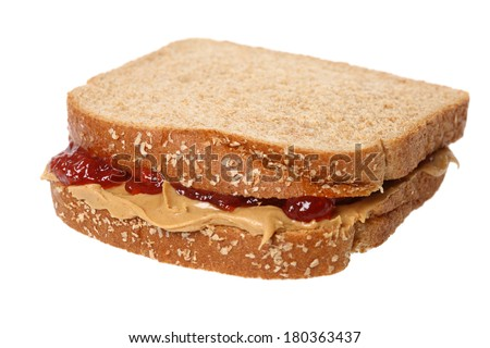 Peanut butter and jelly sandwich, cutout on white background - stock photo
