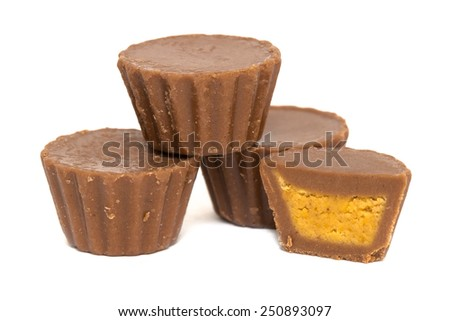 Peanut Butter Cups Stacked - stock photo