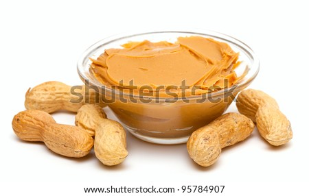 peanut butter isolated on white - stock photo