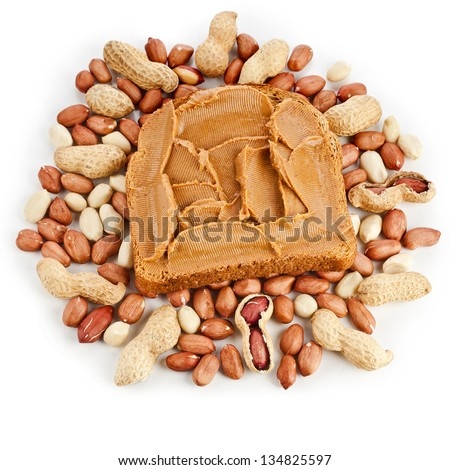 peanut butter sandwich and peanuts top view close up on white background - stock photo