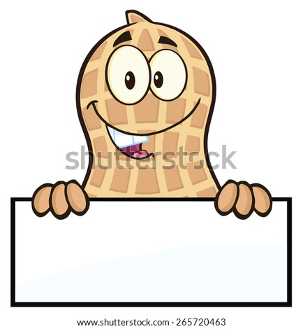 Peanut Cartoon Character Over A Sign. Raster Illustration Isolated On White - stock photo