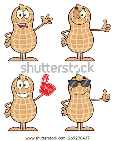 Peanut Cartoon Character 1. Raster Collection Set Isolated On White - stock photo