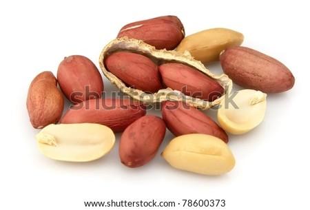 Peanut isolated on white background - stock photo