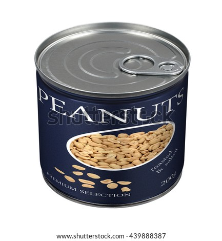 Peanuts can - stock photo