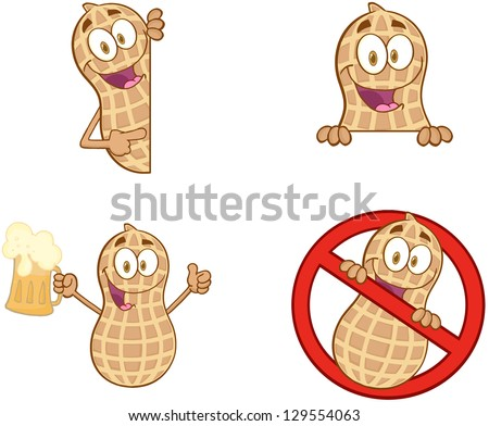 Peanuts Cartoon Mascot Characters-Vector Collection 2. Raster Illustration.Vector Version Also Available In Portfolio. - stock photo