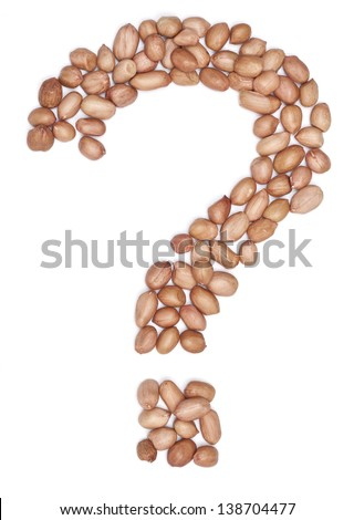 Peanuts in shape of letter ? - stock photo