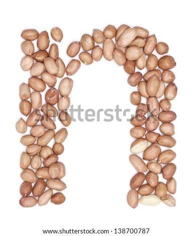 Peanuts in shape of letter n - stock photo