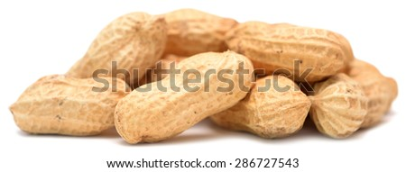 peanuts isolated on a white background - stock photo