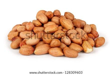 Peanuts isolated on white background - stock photo