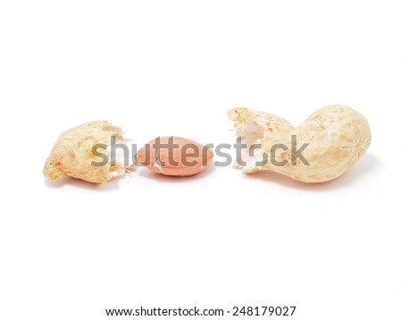 peanuts on a white background - stock photo