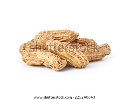 Peanuts on white background - stock photo