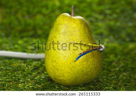 Pear and power cable, Eco-Power - stock photo