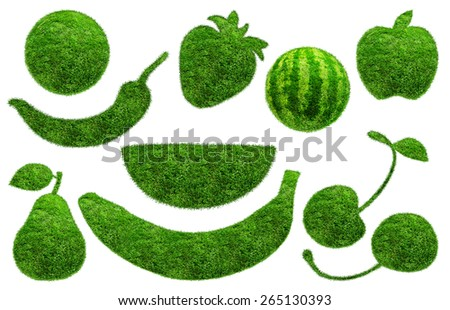 Pear, apple, cherry, strawberry, watermelon, banana, chili in green grass isolated on white background - stock photo