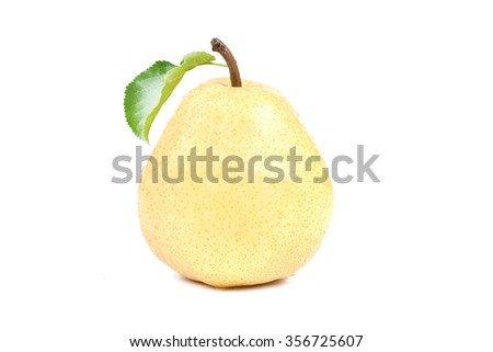 Pear isolated on white with clipping path. Fresh, natural pear with leaf - stock photo