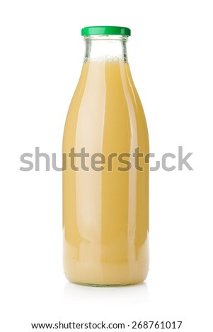 Pear juice glass bottle. Isolated on white background - stock photo