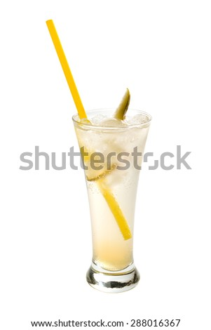 pear lemonade in the glass. isolated on white background - stock photo