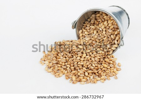 Pearl barley grains spilling out of bucket, on a white background - stock photo