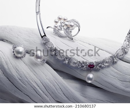 Pearl Displayed In White Background - stock photo
