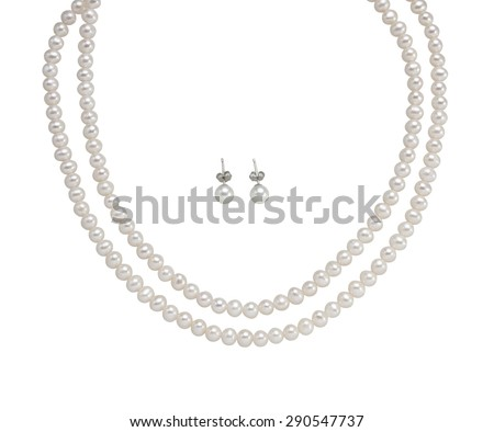 Pearl Earring and necklace isolated on white - stock photo