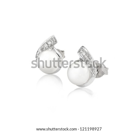 Pearl earring on silver golden body shape the most luxurious gift an image isolated on white - stock photo