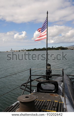 Pearl Harbor from WWII submarine - stock photo