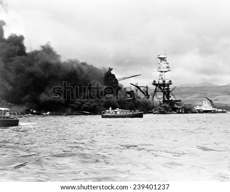 Pearl Harbor, Wreckage of USS Arizona December 7, 1941 - stock photo