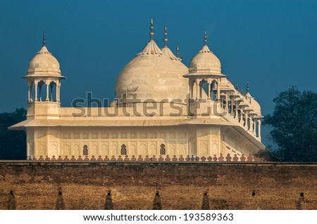 Pearl mosque built by the moghul kings - stock photo
