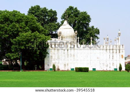 Pearl Mosque 'moti-masjid' in, Famous Delhi Fort also known as Lal Qil'ah, UNESCO World Heritage Site - stock photo