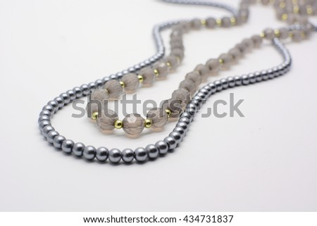 pearl necklace isolated on white, black pearls, beaded necklace - stock photo