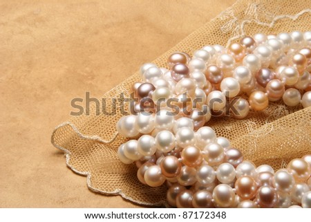 Pearl necklaces. - stock photo