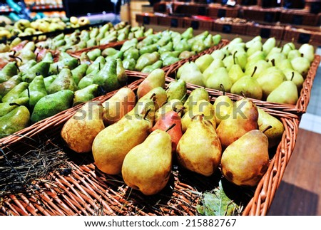 pears at the grocery store - stock photo