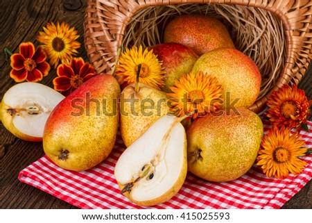 Pears Fruits Fall Still Life - stock photo