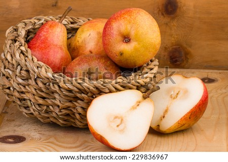 Pears in Basket still life - stock photo
