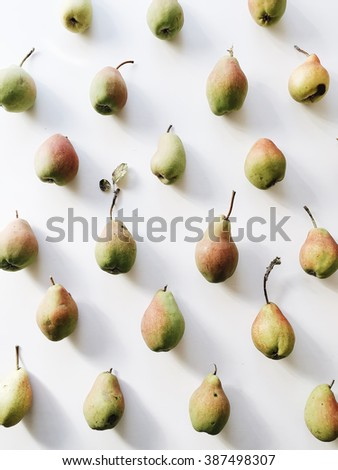 Pears pattern on white background. Overhead view - stock photo