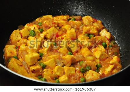 PEAS AND COTTAGE CHEESE VEGETARIAN CURRY - stock photo