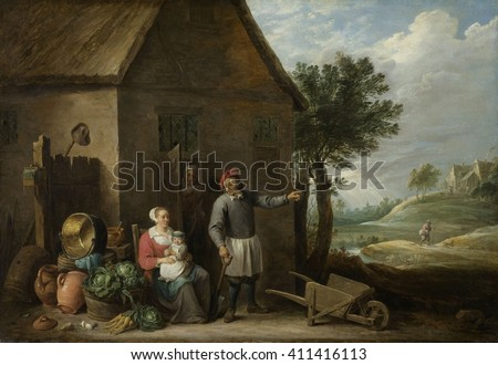 Peasant with His Wife and Child in Front of the Farmhouse, by David Teniers (II), 1640-70, Flemish. Painting, oil on canvas. A farmer has a spade in his hand, and points to the right, possible to his - stock photo
