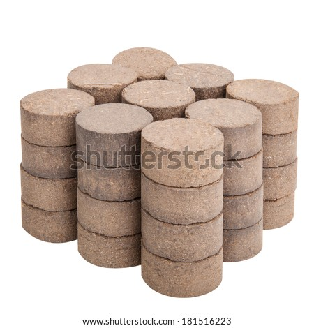 Peat briquettes for growing seedlings isolated on white with clipping paths - stock photo