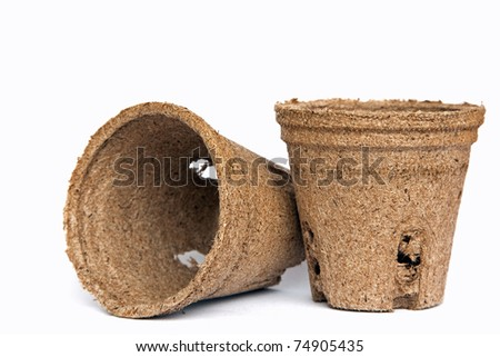 peat pots for seedlings - stock photo