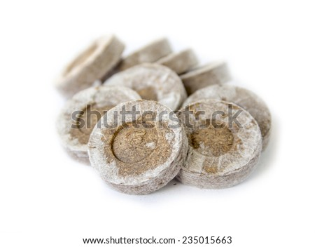 Peat tablets for seedlings - stock photo