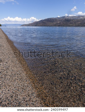 Pebble Beach on Lake Okanagan - stock photo