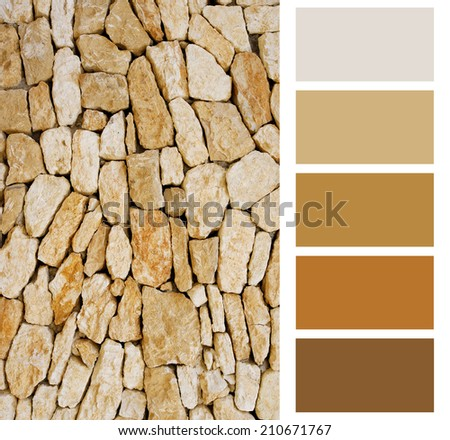 pebble color palette swatches with complimentary - stock photo
