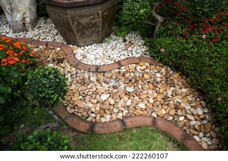 pebble path in the garden - stock photo