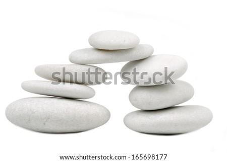 pebble stone concept  isolated on white - stock photo