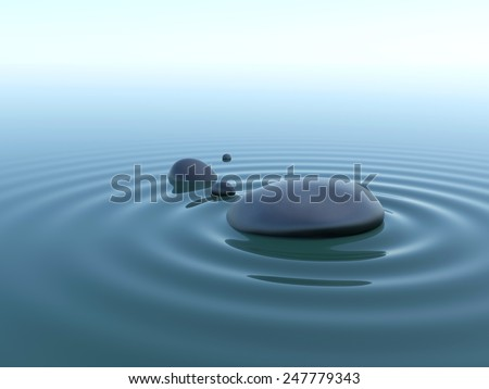 pebble stones in water with wave under sky - stock photo