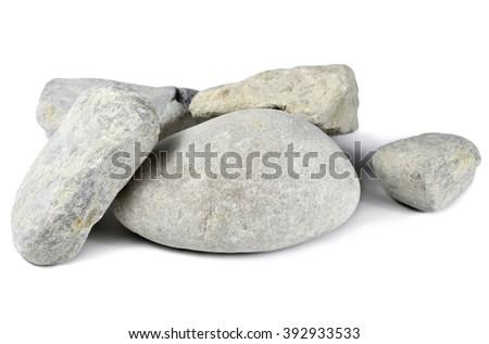 Pebble stones, isolated on white background.  - stock photo