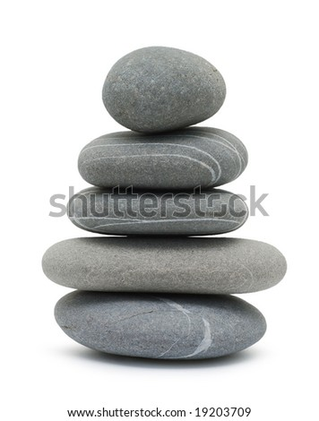 pebble tower isolated on white - stock photo